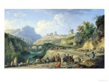 The Construction of a Road, 1774 Gicl&#233;e-Druck von Claude Joseph Vernet