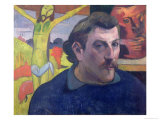 Self Portrait with the Yellow Christ, 1889 Premium Giclee Print by Paul Gauguin