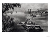 Bound Down the River, Pub. by Currier and Ives, 1870 Giclee Print