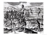 "Various Indian Games, from ""Americae,"" 1602, Engraved by Theodore De Bry (1528-98) Giclee Print by Jacques Le Moyne"