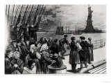 New York, Welcome to the Land of Freedom, an Ocean Steamer Passing the Statue of Liberty Giclee Print