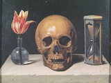 Vanitas Still Life with a Tulip, Skull and Hour-Glass Premium Giclee Print by Philippe De Champaigne