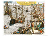 "Departure from Lisbon for Brazil, the East Indies and America,From ""Americae Tertia Pars..."" Giclee Print by Theodor de Bry"