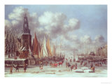 A Winter Scene in Amsterdam Giclee Print by T. Heeremans
