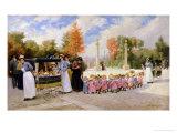 Promenade Des Enfants Giclee Print by Timoleon Marie Lobrichon