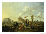 The Old Port of Genoa Giclee Print by Nicolaes Pietersz. Berchem