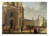 The Entrance to the Musee De Louvre and St. Louis Church, 1822 Giclee Print by Etienne Bouhot