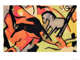 Two Horses, 1911/12 Premium Giclee Print by Franz Marc