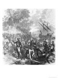 "Landing of De Soto in Florida, from ""Ballou's Pictorial Drawing-Room Companion,"" 1855 Giclee Print by Asa Coolidge Warren"
