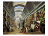 View of the Grand Gallery of the Louvre, 1796 Giclee Print by Hubert Robert