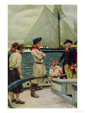 An American Privateer Taking a British Prize Giclee Print by Howard Pyle