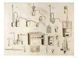 "Scientific Equipment, from ""The Elements of Chemistry"" by Antoine Laurent De Lavoisier (1743-94) Premium Giclee Print"