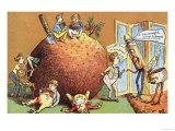 The Christmas Pudding, a Victorian Christmas Card Giclee Print