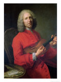 Jean-Philippe Rameau (1683-1764) with a Violin Reproduction procédé giclée par Jacques Andre Joseph Aved
