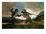 Duel with Clubs Giclee Print by Francisco de Goya