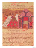 Genghis Khan Outside His Tent, from a Book by Rashid Ad-Din (1247-1318) Giclee Print