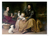 The Holy Family with the Little Bird, circa 1650 Giclée-tryk af Bartolome Esteban Murillo