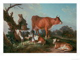 Pastoral Scene with a Cowherd Giclee Print by Jean-Baptiste Huet