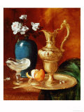 Still Life of a Gilt Ewer, Vase of Flowers and a Facon De Venise Bowl Giclee Print by Antoine Vollon