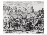 Pack Train of Llamas Laden with Silver from Potosi Mines of Peru, by Theodore De Bry (1528-98) Giclee Print by Jacques Le Moyne