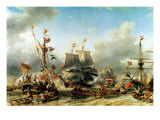The Embarkation of the De Ruyter and the De Witt off Texel in 1667, 1850-51 Premium Giclee Print by Louis Eugene Gabriel Isabey