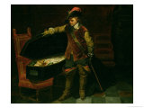Oliver Cromwell (1599-1658) with the Coffin of Charles I (1600-49) 1846 Giclee Print by Hippolyte Delaroche