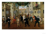 Italian and French Comedians Playing in Farces, 1670 Gicl&#233;e-Druck von Verio 