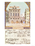 The Leipzig Gewandhaus with a Piece of Music by Felix Mendelssohn (1809-47) Premium Giclee Print