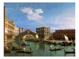 The Rialto Bridge, Venice Reproduction procédé giclée par Canaletto