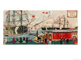 Commodore Perry's Gift of a Railway to the Japanese in 1853 Giclee Print by Ando Hiroshige