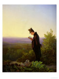 Reading the Breviary, the Evening Premium Giclee Print by Carl Spitzweg