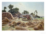 The Threshing Machine (Loiret) 1896 Giclee Print by Albert Gabriel Rigolot