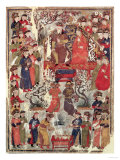 Genghis Khan and His Wife Bortei Enthroned Before Courtiers, by Rashid Ad-Din (1247-1318) Giclee Print