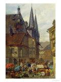 The Marketplace in Wernigerode, 1861 Giclee Print by Charles Hoguet