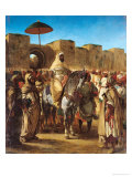 Sultan of Morocco, Leaving His Palace of Meknes with His Entourage, March 1832, 1845 Premium Giclee Print by Eugene Delacroix