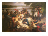 Return of Napoleon (1769-1821) to the Island of Lobau after the Battle of Essling,1809, 1812 Giclee Print by Charles Meynier