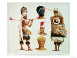Various Dancing Costumes Worn at Nakello, Fiji, Illustration from The Voyage of H.M.S. Challenger Giclee Print by M. Hanhart