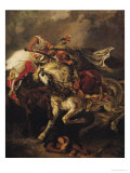 "The Battle of Giaour and Hassan, after Byron's Poem, ""Le Giaour,"" 1835 Premium Giclee Print by Eugene Delacroix"