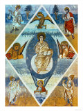 Christ in Majesty with the Symbols of the Evangelists, from the Bible of Alcuin (735-804) Giclee Print