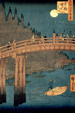 "Kyoto Bridge by Moonlight, from the Series ""100 Views of Famous Place in Edo,"" Pub. 1855 Giclee Print by Ando Hiroshige"