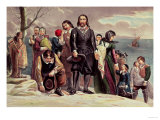 The Landing of the Pilgrims at Plymouth, Massachusetts, December 22nd 1620 by Currier & Ives Premium Giclee Print