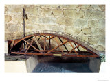 Model of a Swing Bridge Made from One of Leonardo's Drawings Premium Giclee Print by  Leonardo da Vinci