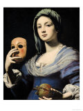 Woman with a Mask Premium Giclee Print by Lorenzo Lippi
