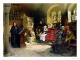 Luther Preaches Using His Bible Translation While Imprisoned at Wartburg, 1882 Giclée-Druck von Hugo Vogel
