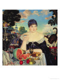 The Merchant's Wife at Tea, 1918 Giclee Print by Boris Kustodiyev