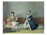 Monsieur Levett and Mademoiselle Helene Glavany in Turkish Costumes Giclee Print by Jean-Etienne Liotard