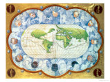 Map Tracing Magellan's World Voyage, Once Owned by Charles V, 1545 Giclee Print by Battista Agnese