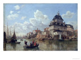 The Boat House at Hamburg Harbour, 1850 Premium Giclee Print by Valentin Ruths