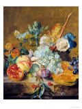 Flowers and Fruit Premium Giclee Print by Jan van Huysum
