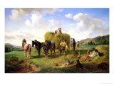 The Hay Harvest, 1869 Giclée-Druck von Hermann Kauffmann
